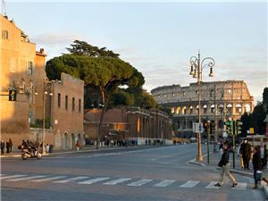Via Fori Imperali is right down the hill