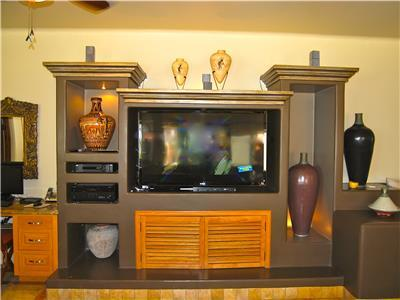 Large flat screen TV with satellite reception