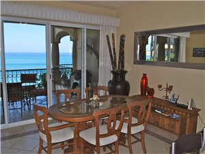 Dining room has a view of the Sea of Cortez