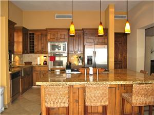 The kitchen has granite counters
