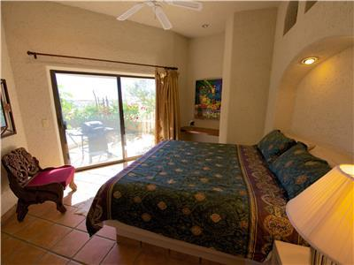The second bedroom opens to the pool patio
