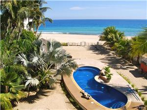 Looking down on the beach and swimming pool