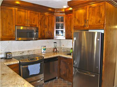 The kitchen has all new appliances