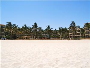 Las Mananitas viewed from the white sand beach