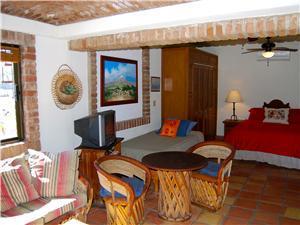 The studio also has hacienda style decor