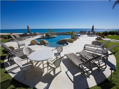 Nice lounge furniture around the beachfront pool