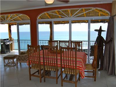 The dining room has great views