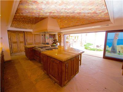 The kitchen opens up to an amazing view