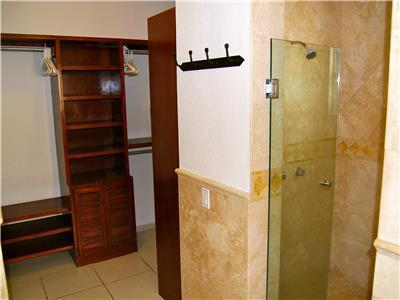 The master bath has a shower and large closets