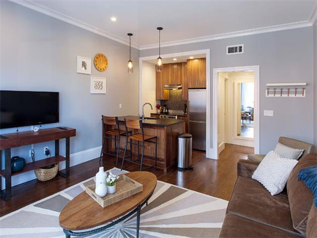 Kitchen and Living Room - Boston Rental, Back Bay