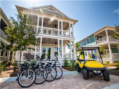 Golf Cart and Bikes for Easy Travel!