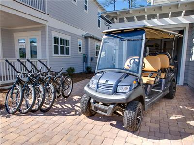 6 Seater Golf Cart & 4 Bikes Available!