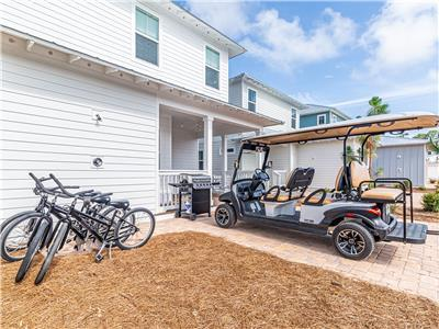 6 Seater Golf Cart and 4 Bikes!