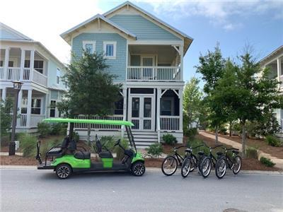 Features a 6 Seater Golf Cart & 4 Bikes!