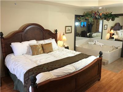 Master Bedroom With King Bed and Large Jetted Tub