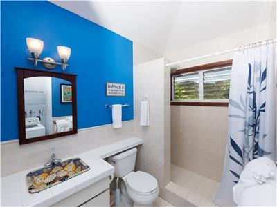 Second bathroom with shower window