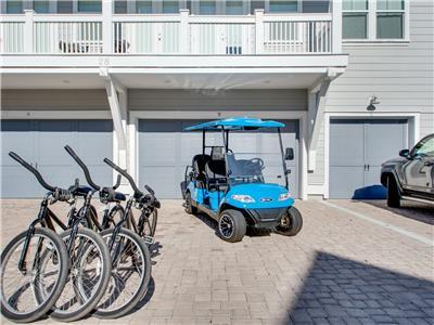 6 Seater Golf Cart & 3 Bikes Adult Bikes
