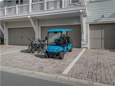 6 Seater Golf Cart and 3 Bikes Included!