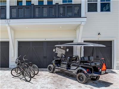 6 Seater Golf Cart & 3 Bikes!