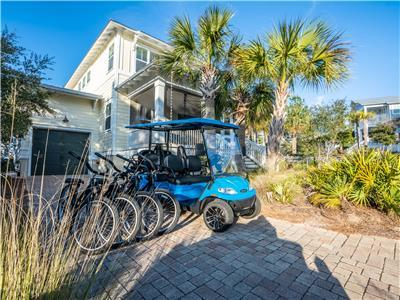 6 Seater Golf Cart & 4 Adult Bikes!